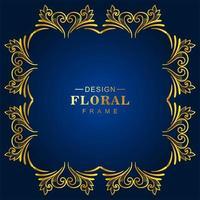 marco floral decorativo dorado ornamental en azul vector