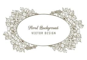 marco de tarjeta floral ovalada dibujo decorativo