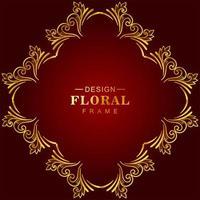 Golden diamond floral frame on red gradient vector