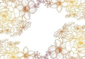 Yellow brown gradient hand drawn floral frame vector
