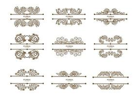 Vintage floral dividers set vector