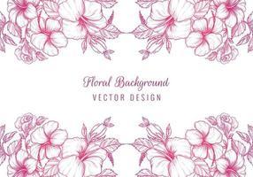 Pink sketch decorative floral borders