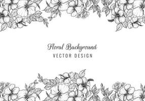 elegante diseño de borde de boceto floral negro vector