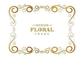 Curly golden floral frame vector