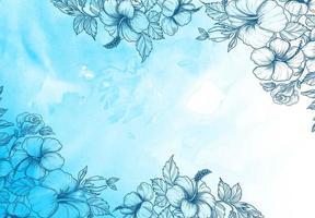 flores decorativas en textura acuarela en tonos azules