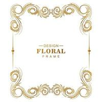 Ornamental creative golden floral frame on white vector