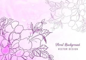 Decorative outline flowers on purple watercolor vector