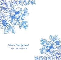 hermoso diseño decorativo de esquina floral azul vector