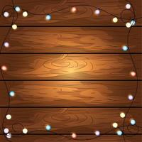 Wooden background with lights