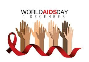World AIDS day campaign with hands and ribbon