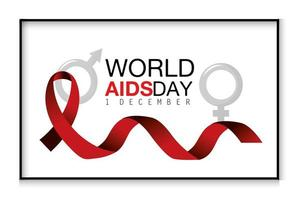 World AIDS day campaign with red ribbon