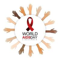 Hands and red ribbon on AIDS prevention campaign