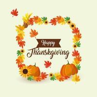 Happy thanksgiving, autumn wreath vector