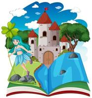 Fairy tales and castle tower on pop up book