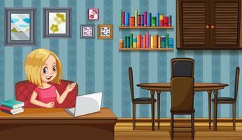 escena con mujer trabajando en casa vector