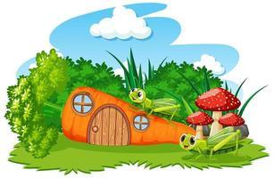 casa de zanahoria de dibujos animados con dos saltamontes vector