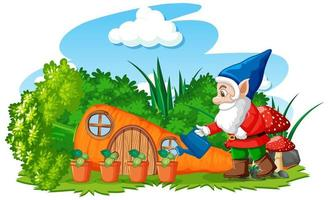 Gnomes watering plant with carrot house vector