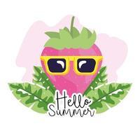 morango usando óculos escuros para saudação de verão