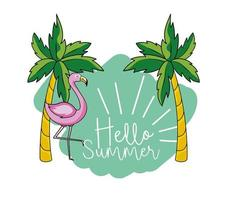 palmeras tropicales y flamencos de vacaciones de verano