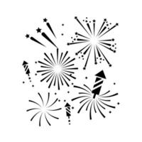 Set of silhouette firework icons