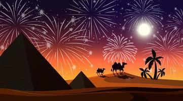 desierto con celebración escena de fuegos artificiales
