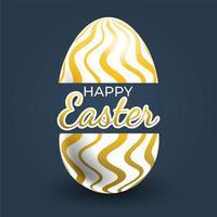 cartel de huevo de pascua con estampado de línea ondulada dorada