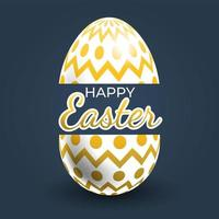 Gold Zigzag and Dots Patterned Easter Egg Poster
