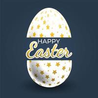 Gold Stars Patterned Easter Egg Poster