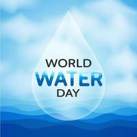 World Water Day design with drop over water