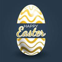 cartel de huevo de pascua con línea ondulada de oro horziontal vector