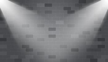 Corner spotlights illuminated on a brick wall vector