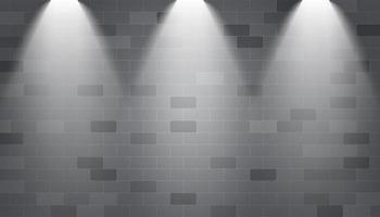 Spotlights illuminated on a brick wall vector