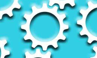 White gears with shadows on blue vector