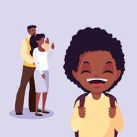 lindo niño pequeño estudiante afro con padres vector
