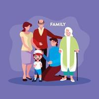 lindos miembros de la familia en cartel vector