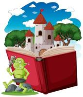 Goblin or troll and castle tower  vector