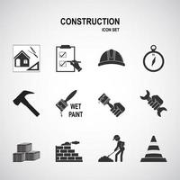 Building and construction icon set vector