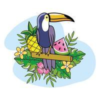 tucán con frutas y plantas vector