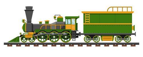 Vintage train on railroad