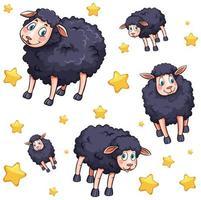Cartoon black sheep and stars pattern vector
