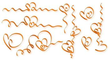 Golden hearts of ribbon vector