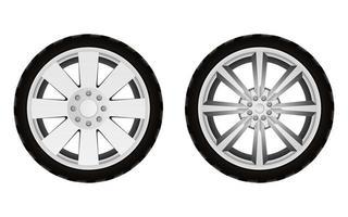 Neumático de coche aislado sobre fondo blanco.