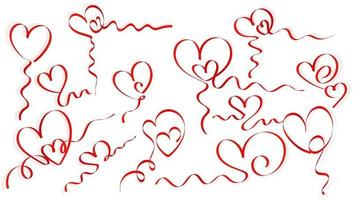 Red hearts of ribbon set design vector