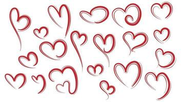 Red hearts sketch set  vector