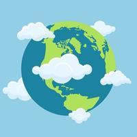 planeta terra com nuvens vetor