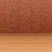 pared de ladrillo y piso de madera vector
