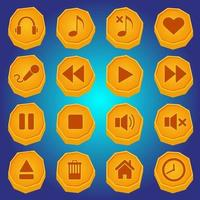 Stone-style button icon set for media player