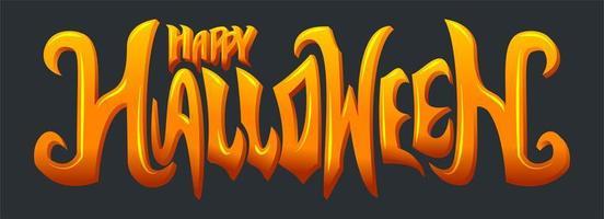 gradiente naranja brillante feliz halloween texto vector