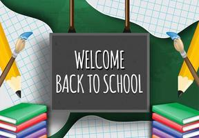 Welcome back to school on blackboard with elements vector