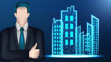 Business man and low poly wireframe mesh cityscape